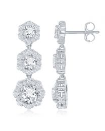 2.65 CTW Triple Drop Triple Halo Diamond Earrings