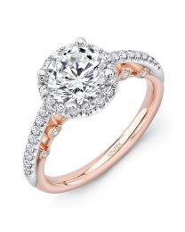 "Uneek ""La Notte Stellata"" Round Diamond Halo Engagement Ring with Pave Upper Shank in 14K White Gold, and Dramatic Under-the-Head Filigree/Bottom Shank in 14K Rose Gold"