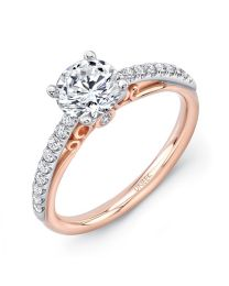 "Uneek ""Naiade"" Round Diamond Engagement Ring with Pave Upper Shank in 14K White Gold, and Dramatic Under-the-Head Filigree/Bottom Shank in 14K Rose Gold"