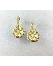 18 Karat Yellow Gold Blossom Leverback Earrings