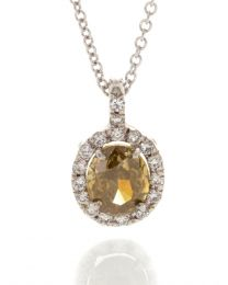 FANCY DARK YELLOW OVAL DIAMOND PENDANT