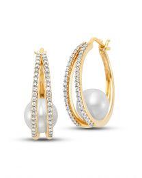 Pearl and Diamond Hoop Earrings