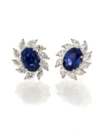 OVAL SAPPHIRE WITH MARQUISE DIAMOND EARRINGS