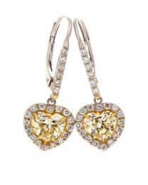 LIGHT YELLOW HEART SHAPE DIAMOND EARRINGS