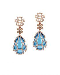 Blue Topaz Teardrop Cage Earring with Diamonds