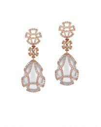 Moon Quartz Teardrop Cage Earring with Diamonds