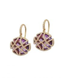 Amethyst Oval Disc Oblong Cage Earring with Diamond