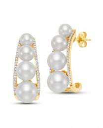 Pearl and Diamond Demi-Hoop Earrings