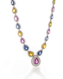 PEAR SHAPE MULTICOLOR SAPPHIRE NECKLACE