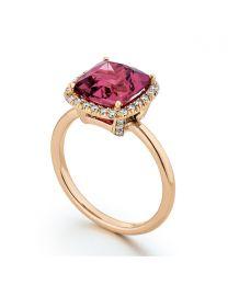 Rhodolite Garnet and Diamond Ring in 20 Karat Pink Gold