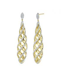 18K Yellow Gold Strié and Diamond Wrap Cage Earrings
