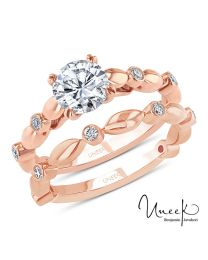 Uneek Round Diamond Cathedral Setting Engagement Ring and Matching Wedding Band, with Bezel Accents and High-Polish Navette-Shaped Beads, in 14K Rose Gold