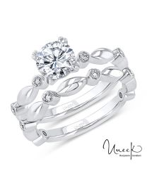Uneek Round Diamond Bridal Set with Bezel Accents and High-Polish Navette-Shaped Beads, in 14K White Gold