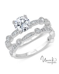 Uneek Round Diamond Bridal Set with Milgrain-Trimmed Pave Bars and Bezel Station Accents, in 14K White Gold