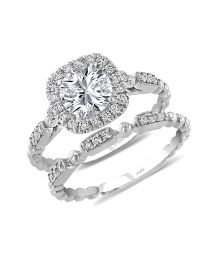 Uneek Round Diamond Halo Engagement Ring and Matching Wedding Band, with High Polish Bead Accents and Milgrain-Trimmed Pave Bars, in 14K White Gold