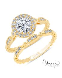 Uneek Round Diamond Halo Engagement Ring and Matching Wedding Band, with High Polish Bead Accents and Milgrain-Trimmed Pave Bars, in 14K Yellow Gold