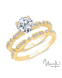 Uneek Round Diamond Bridal Set with Milgrain-Trimmed Pave Bars, in 14K Yellow Gold