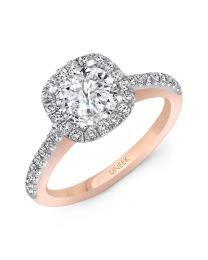 "Uneek ""Fontana"" Vintage-Inspired Round-Diamond-on-Cushion-Halo Engagement Ring with Pave Upper Shank in 14K White Gold, and Under-the-Head Filigree/Bottom Shank in 14K Rose Gold"
