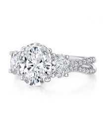 Uneek Oval Diamond Three-Stone Engagement Ring with Pave