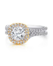 Uneek Round Diamond Engagement Ring with Cushion-Shaped Halo in Yellow Gold and Pave Double Shank in White Gold