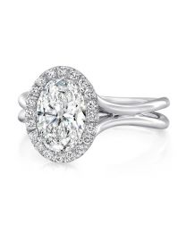 Uneek Oval Diamond Halo Engagement Ring with High Polish
